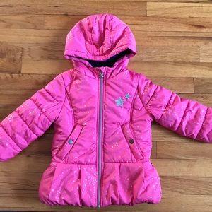 EUC OshKosh Girls pink star winter coat size 4